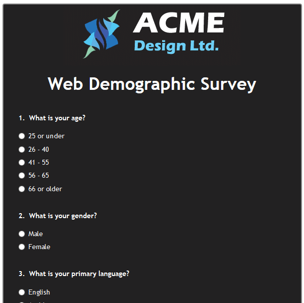 Web Demographic Survey
