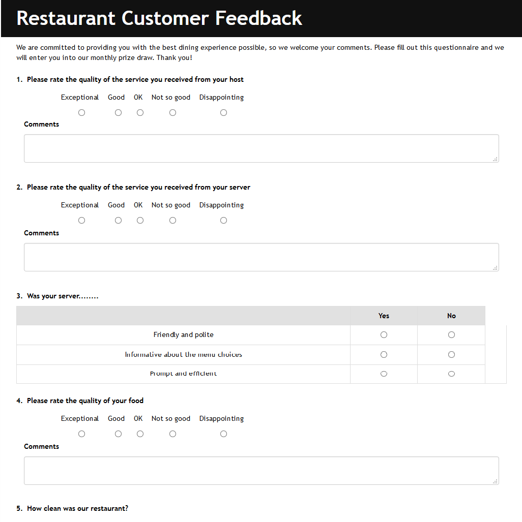 Restaurant Satisfaction