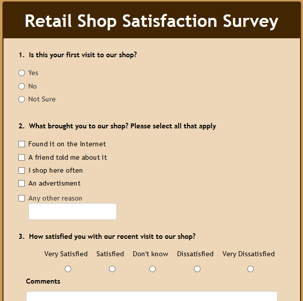 Retail Shop Satisfaction