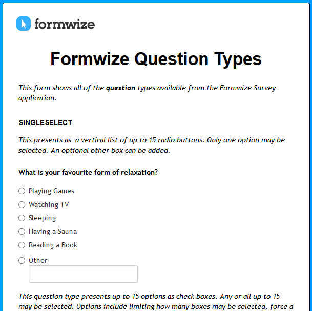Formwize Question Types