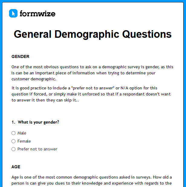 Sample Demographics Questions