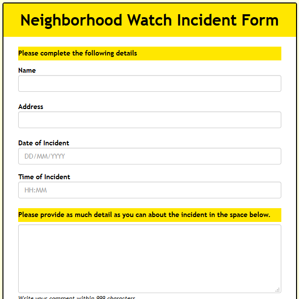 Neighborhood Watch Incident reporting Form