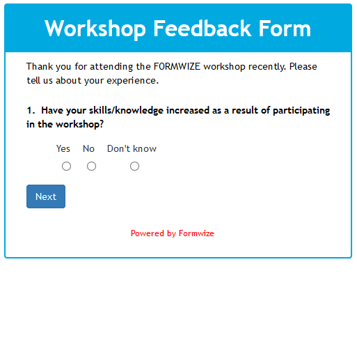 Workshop Feedback Form - Multi Page