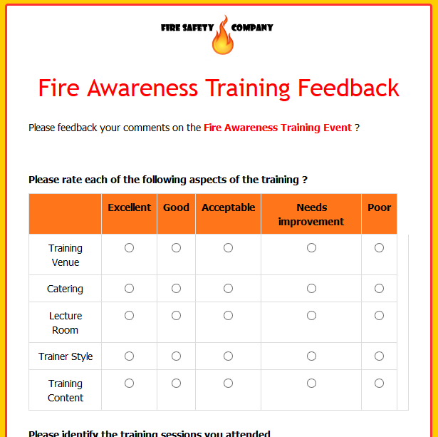 Fire Awareness Training Feedback
