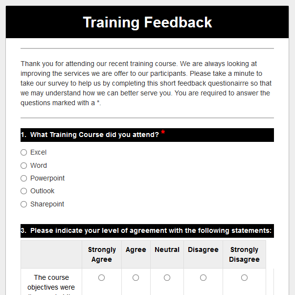 Training Feedback