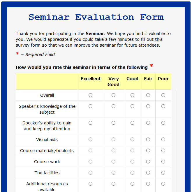 Seminar Evaluation Form
