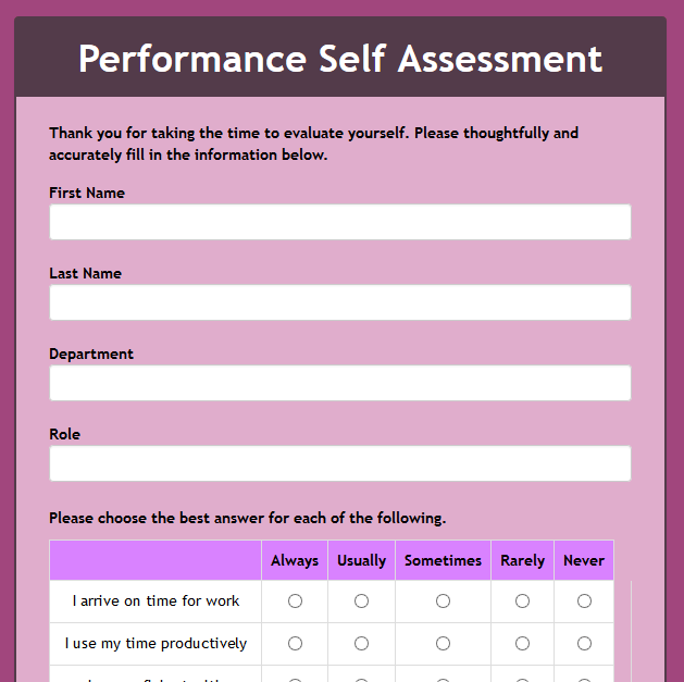 Performance Self Assesment