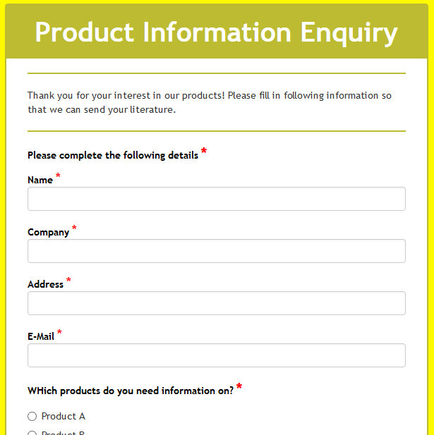 Product Information Enquiry