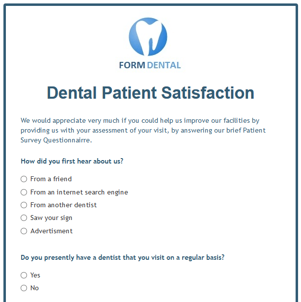 Dental Patient Satisfaction Form