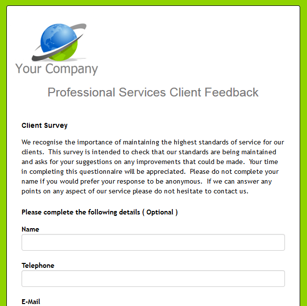 Professional Services Client Feedback