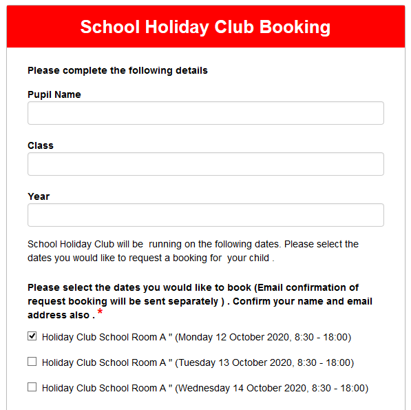 School Holiday Club Booking
