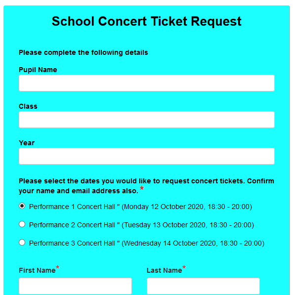 School Concert Ticket Request